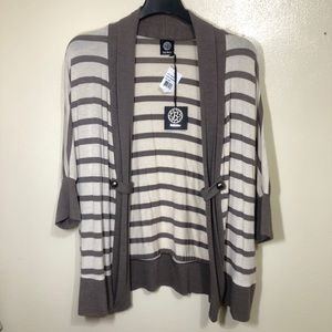 Bobeau Striped Cardigan Sweater with Open Front